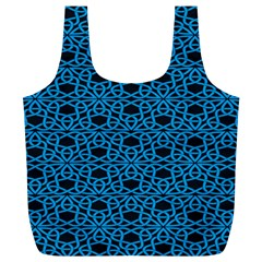 Triangle Knot Blue And Black Fabric Full Print Recycle Bags (l)
