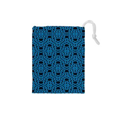 Triangle Knot Blue And Black Fabric Drawstring Pouches (small)