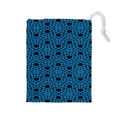 Triangle Knot Blue And Black Fabric Drawstring Pouches (large)