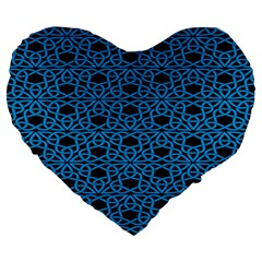 Triangle Knot Blue And Black Fabric Large 19  Premium Flano Heart Shape Cushions