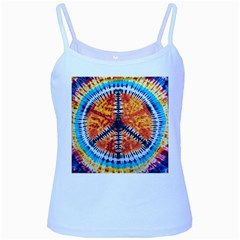 Tie Dye Peace Sign Baby Blue Spaghetti Tank