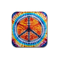 Tie Dye Peace Sign Rubber Coaster (square)