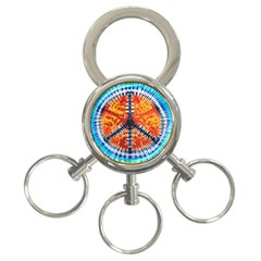 Tie Dye Peace Sign 3 Ring Key Chains