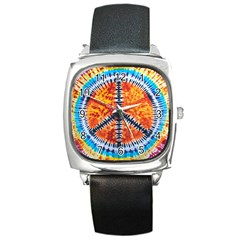 Tie Dye Peace Sign Square Metal Watch