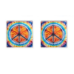 Tie Dye Peace Sign Cufflinks (square)