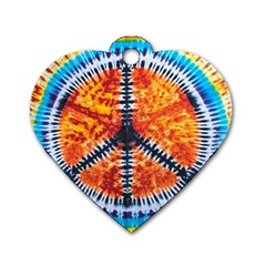 Tie Dye Peace Sign Dog Tag Heart (one Side)