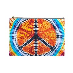 Tie Dye Peace Sign Cosmetic Bag (large)