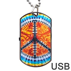 Tie Dye Peace Sign Dog Tag Usb Flash (one Side)