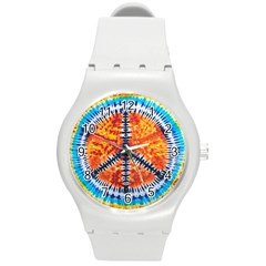 Tie Dye Peace Sign Round Plastic Sport Watch (m)
