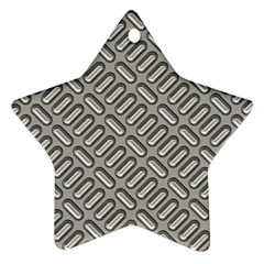 Grey Diamond Metal Texture Star Ornament (two Sides)