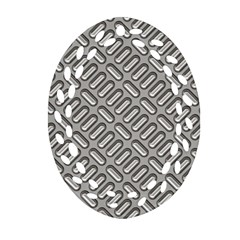 Grey Diamond Metal Texture Oval Filigree Ornament (two Sides)