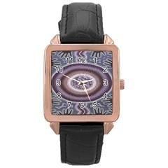 Spirit Of The Child Australian Aboriginal Art Rose Gold Leather Watch