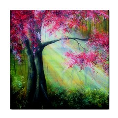 Forests Stunning Glimmer Paintings Sunlight Blooms Plants Love Seasons Traditional Art Flowers Sunsh Tile Coasters