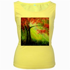 Forests Stunning Glimmer Paintings Sunlight Blooms Plants Love Seasons Traditional Art Flowers Sunsh Women s Yellow Tank Top