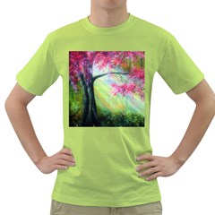 Forests Stunning Glimmer Paintings Sunlight Blooms Plants Love Seasons Traditional Art Flowers Sunsh Green T Shirt