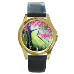 Forests Stunning Glimmer Paintings Sunlight Blooms Plants Love Seasons Traditional Art Flowers Sunsh Round Gold Metal Watch