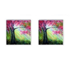 Forests Stunning Glimmer Paintings Sunlight Blooms Plants Love Seasons Traditional Art Flowers Sunsh Cufflinks (square)