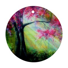 Forests Stunning Glimmer Paintings Sunlight Blooms Plants Love Seasons Traditional Art Flowers Sunsh Round Ornament (two Sides)