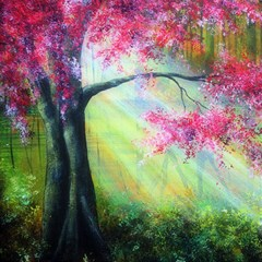 Forests Stunning Glimmer Paintings Sunlight Blooms Plants Love Seasons Traditional Art Flowers Sunsh Magic Photo Cubes