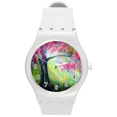 Forests Stunning Glimmer Paintings Sunlight Blooms Plants Love Seasons Traditional Art Flowers Sunsh Round Plastic Sport Watch (m)