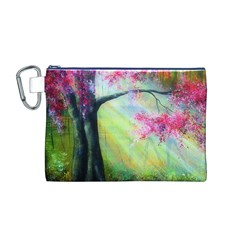 Forests Stunning Glimmer Paintings Sunlight Blooms Plants Love Seasons Traditional Art Flowers Sunsh Canvas Cosmetic Bag (m)