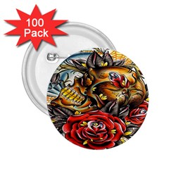 Flower Art Traditional 2 25  Buttons (100 Pack)