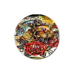 Flower Art Traditional Magnet 3  (round)