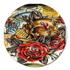 Flower Art Traditional Magnet 5  (round)