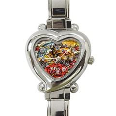 Flower Art Traditional Heart Italian Charm Watch