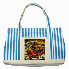 Flower Art Traditional Striped Blue Tote Bag