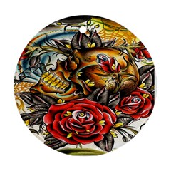 Flower Art Traditional Round Ornament (two Sides)