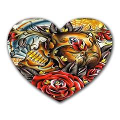 Flower Art Traditional Heart Mousepads