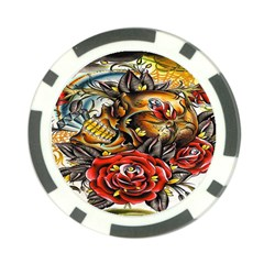 Flower Art Traditional Poker Chip Card Guard