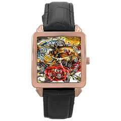 Flower Art Traditional Rose Gold Leather Watch