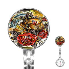 Flower Art Traditional Stainless Steel Nurses Watch
