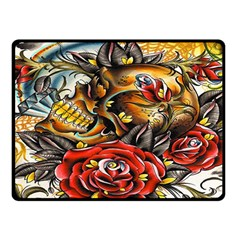 Flower Art Traditional Double Sided Fleece Blanket (small)