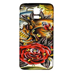 Flower Art Traditional Samsung Galaxy S5 Back Case (white)