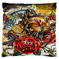 Flower Art Traditional Large Flano Cushion Case (two Sides)