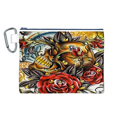 Flower Art Traditional Canvas Cosmetic Bag (l)