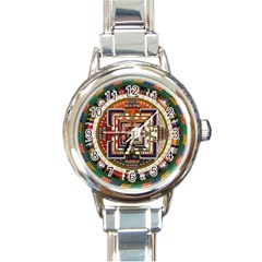 Colorful Mandala Round Italian Charm Watch