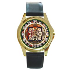 Colorful Mandala Round Gold Metal Watch