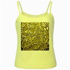 Golden European Pattern Yellow Spaghetti Tank