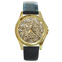 Golden European Pattern Round Gold Metal Watch