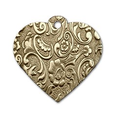 Golden European Pattern Dog Tag Heart (two Sides)