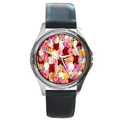 Rose Color Beautiful Flowers Round Metal Watch
