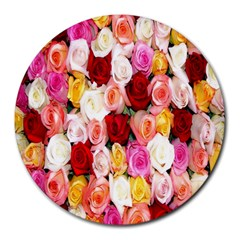 Rose Color Beautiful Flowers Round Mousepads