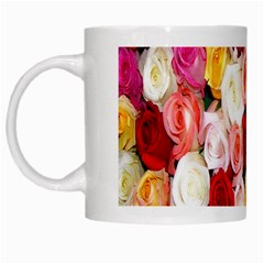 Rose Color Beautiful Flowers White Mugs