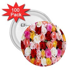 Rose Color Beautiful Flowers 2 25  Buttons (100 Pack)