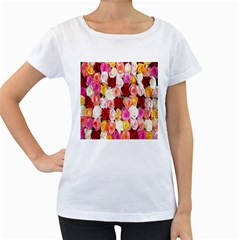 Rose Color Beautiful Flowers Women s Loose Fit T Shirt (white)