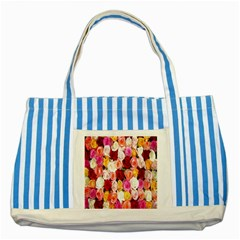 Rose Color Beautiful Flowers Striped Blue Tote Bag